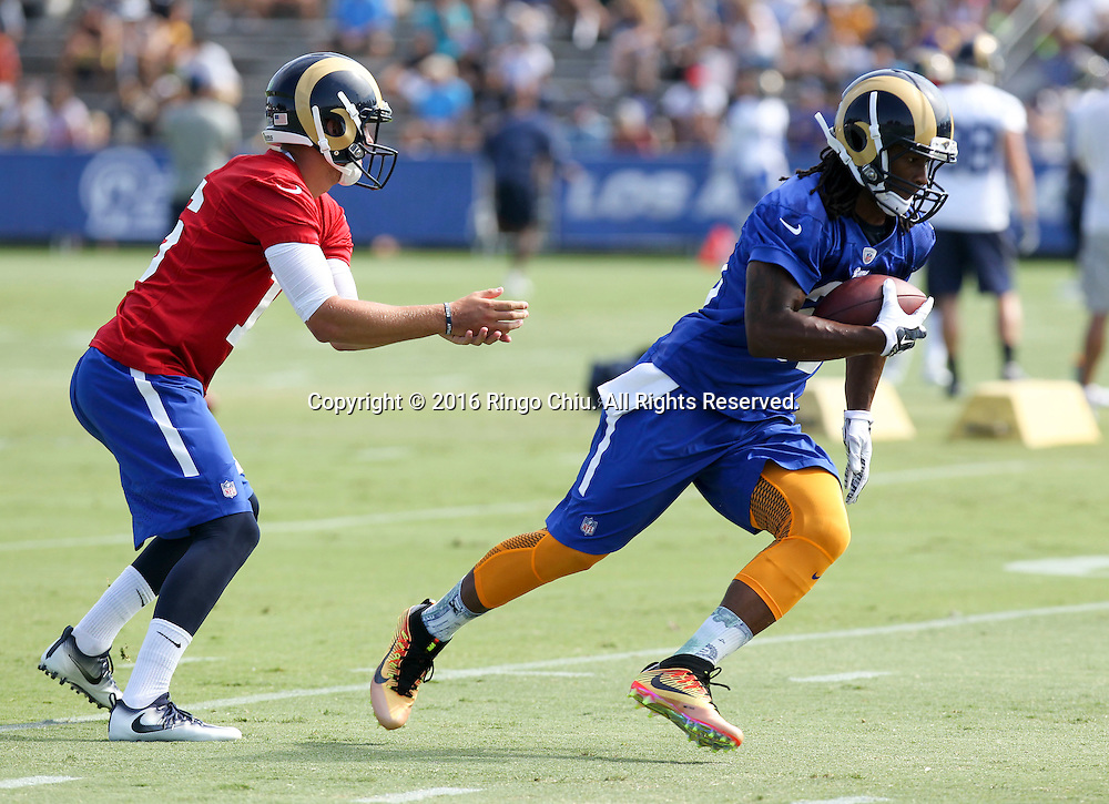 RB Todd Gurley #30 and QB Jared Goff #16 in Los Angeles Rams training session at UC Irvine campus.(Photo by Ringo Chiu/PHOTOFORMULA.com)<br /> <br /> Usage Notes: This content is intended for editorial use only. For other uses, additional clearances may be required.