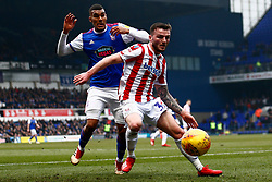 Tom Edwards of Stoke City Collin Quaner of Ipswich Town battles for possession - Mandatory by-line: Phil Chaplin/JMP - 16/02/2019 - FOOTBALL - Portman Road - Ipswich, England - Ipswich Town v Stoke City - Sky Bet Championship