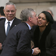 National Security Advisor Condoleezza Rice receives a kiss from British Foreign Minister Jack Straw as Sec. of State Colin Powell looks on Wednesday, November 19, 2003.  Pres. Bush and First Lady Laura Bush are hosted by Queen Elizabeth and Prince Phillip at Buckingham Palace during a State Visit to the United Kingdom Wednesday, November 19, 2003, in London...Photo by Khue Bui