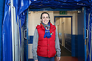 AFC Wimbledon fan stood in players tunnel during the EFL Sky Bet League 1 match between AFC Wimbledon and Peterborough United at the Cherry Red Records Stadium, Kingston, England on 18 January 2020.