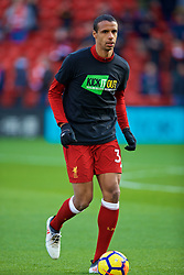 LIVERPOOL, ENGLAND - Saturday, February 24, 2018: Liverpool's Joel Matip, wearing a Kick It Out anti-racism t-shirt, during the pre-match warm-up before the FA Premier League match between Liverpool FC and West Ham United FC at Anfield. (Pic by David Rawcliffe/Propaganda)