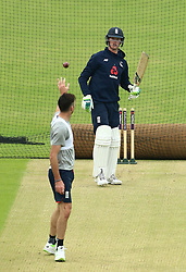 England's Keaton Jennings returns the ball to James Anderson during a nets session at Headingley, Leeds. PRESS ASSOCIATION Photo. Picture date: Wednesday May 30, 2018. See PA story CRICKET England. Photo credit should read: Tim Goode/PA Wire. RESTRICTIONS: Editorial use only. No commercial use without prior written consent of the ECB. Still image use only. No moving images to emulate broadcast. No removing or obscuring of sponsor logos.