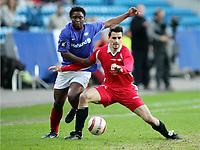 Fotball, 28. april 2005, Royal League,  Vålerenga - Brann, Paul Scharner, Brann og Mbulelo Mabizela, Vålerenga