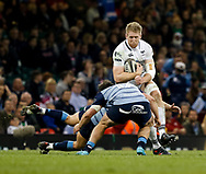 Ospreys' Bradley Davies is tackled by Cardiff Blues' Kirby Myhill<br /> <br /> Photographer Simon King/Replay Images<br /> <br /> Guinness PRO14 Round 21 - Cardiff Blues v Ospreys - Saturday 28th April 2018 - Principality Stadium - Cardiff<br /> <br /> World Copyright © Replay Images . All rights reserved. info@replayimages.co.uk - http://replayimages.co.uk