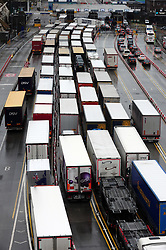 &copy; Licensed to London News Pictures.30/03/2018<br /> DOVER, UK.<br /> CHECK IN QUEUE AT DOVER DOCKS<br /> Good Friday gridlock at the Port of Dover for hundreds of lorries  due to heightened French security checks. Hours of delays are expected as lorries queue on the A20<br />  Photo credit: Grant Falvey/LNP