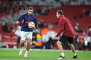 Arsenal midfielder Henrikh Mkhitaryan (7) warms up prior to the Europa League group stage match between Arsenal and FC Voskla Potlava at the Emirates Stadium, London, England on 20 September 2018.