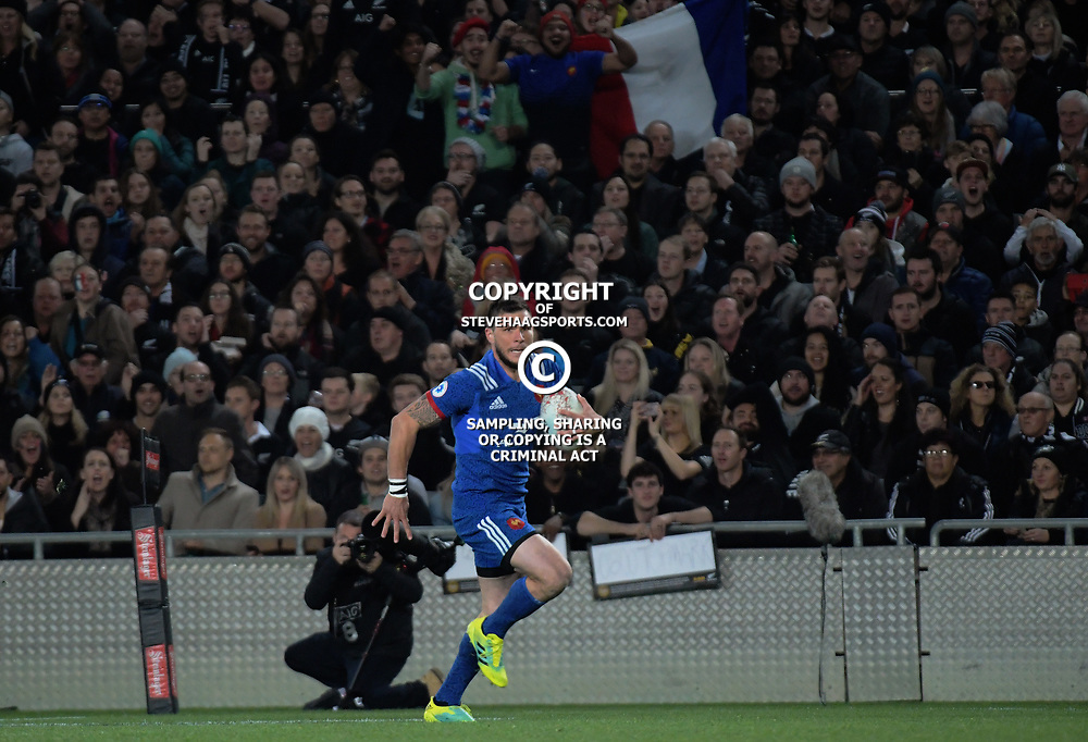 France's Remy Grosso races for the tryline during the Steinlager Series international rugby match between teh New Zealand All Blacks and France at Eden Park in Auckland, New Zealand on Saturday, 9 June 2018. Photo: Dave Lintott / lintottphoto.co.nz