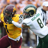 MINNEAPOLIS, MN - SEPTEMBER 24: Rodney Smith #1 of the Minnesota Golden Gophers carries the ball for a gain in the x quarter against the Colorado State Rams at TCF Bank Stadium on September 24, 2016 in Minneapolis, Minnesota. (Photo by Adam Bettcher/Getty Images) *** Local Caption *** xxxxxxxx
