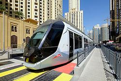 New Dubai tram in Marina district of New Dubai in United Arab Emirates