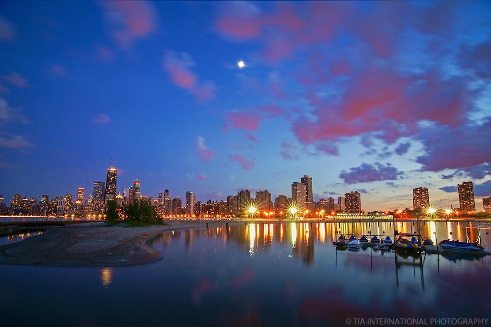 Chicago Skyline & North Shore (Sunset)