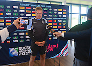 Fiji Coach John McKee at a press conference during the Fiji Training Session in preparation for the Rugby World Cup at London Irish RFC, Sunbury-On-Thames, United Kingdom on 14 September 2015. Photo by Ian Muir. during the Fiji Training Session in preparation for the Rugby World Cup at London Irish RFC, Sunbury-On-Thames, United Kingdom on 14 September 2015. Photo by Ian Muir.