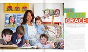 Portrait of artist Morgan Herndon in her North Little Rock studio with her children for Savvy Kids Magazine. Photo by Beth Hall