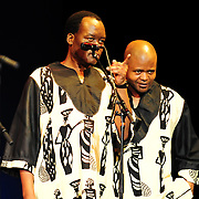 Ladysmith Black Mambazo members Abednego Mazibuko (L) and Sibongiseni Shabalala performing at The Music Hall, Portsmouth, NH