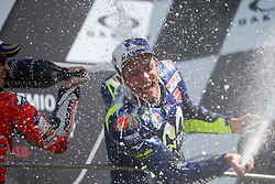 June 3, 2018 - Mugello, FI, Italy - Valentino Rossi of Movistar Yamaha MotoGP celebrate the third place of the MotoGP Oakley Grand Prix of Italy, at International  Circuit of Mugello, on May 31, 2018 in Mugello, Italy  (Credit Image: © Danilo Di Giovanni/NurPhoto via ZUMA Press)