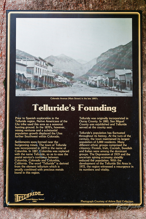 Historical plaque, Telluride, Colorado