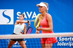 Pia Cuk and Nina Potocnik of team East in action during Day 2 of tennis tournament Mima Jausovec cup where compete best Slovenian tennis players of the East and West, on June 7, 2020 in RCU Lukovica, Slovenia. Photo by Matic Klansek Velej / Sportida