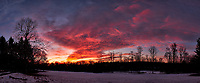 Dawn Morning Clouds. Winter Backyard Nature in New Jersey. Composite of 8 images taken with a Fuji X-T1 camera and 16 mm f/1.4 lens (ISO 200, 16 mm, f/4, 1/60 sec). Raw images processed with Capture One Pro and the composite generated with AutoPano Giga Pro.
