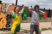 A young lady celebrates after winning a 1 minute wrestling match at Artscape in Baltimore, MD on Sunday, July 21, 2013.