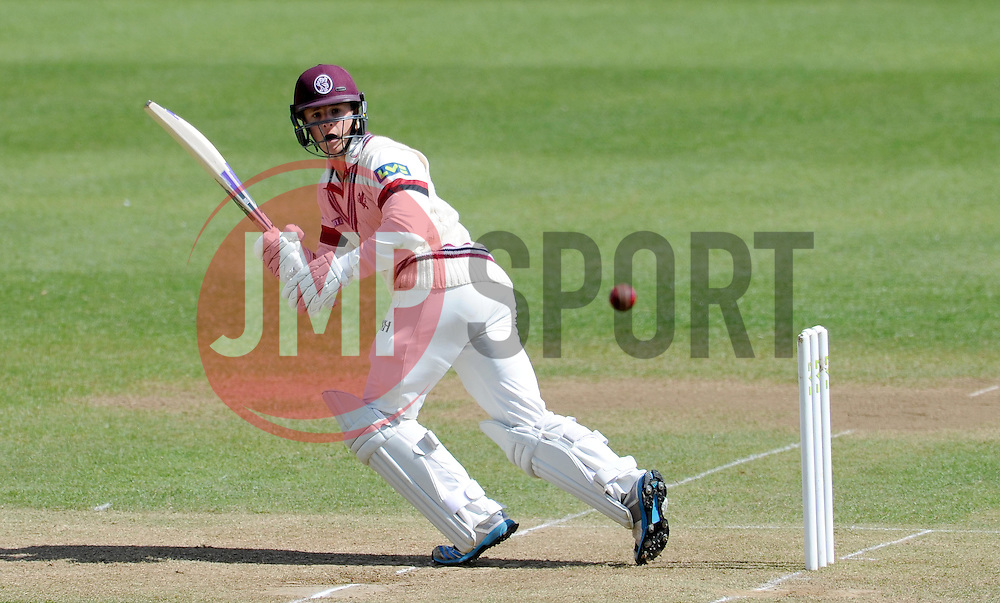 Somerset's Tom Abell flicks the ball. - Photo mandatory by-line: Harry Trump/JMP - Mobile: 07966 386802 - 28/04/15 - SPORT - CRICKET - LVCC Division One - County Championship - Somerset v Middlesex - Day 3 - The County Ground, Taunton, England.