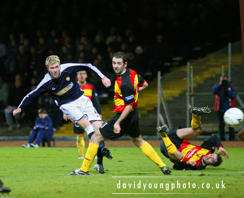 Dens Park, Dundee<br /> 29/12/2007<br /> <br /> This effort from Dundee's Kevin McDonald was saved by Partick keeper Craig Hinchcliffe but the youngster had better luck later, scoring the Dark Blues' last minute winner