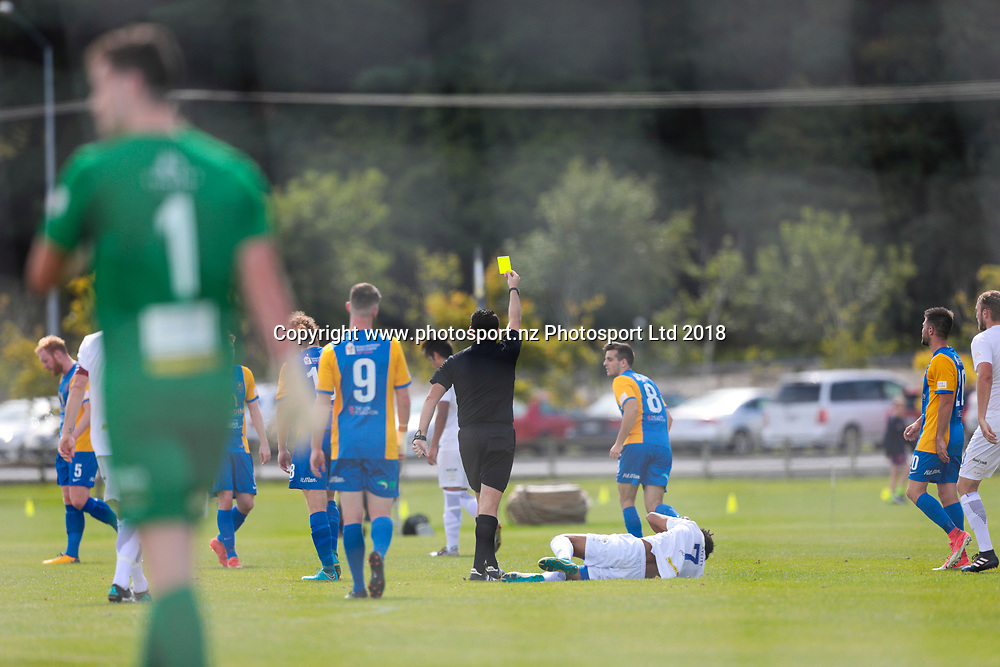 Southern United cop a yellow card during the Southern United vs Hamilton, ISPS Handa Premiership football match held at Sunnyvale Park, Dunedin, New Zealand. 10 March 2018. Copyright Image: Derek Morrison / www.photosport.nz
