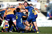 Joshua Clark of North Otago is caught by the defence during the Ranfurly Shield match between Otago and North Otago, held at Whitestone Contracting Stadium, Oamaru, New Zealand, 26 July 2019. Credit: Joe Allison / www.Photosport.nz