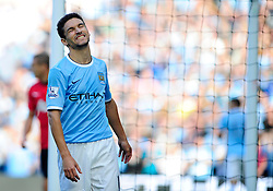 Manchester City's Jesus Navas reacts after Manchester City come close to scoring - Photo mandatory by-line: Dougie Allward/JMP - Tel: Mobile: 07966 386802 22/09/2013 - SPORT - FOOTBALL - City of Manchester Stadium - Manchester - Manchester City V Manchester United - Barclays Premier League