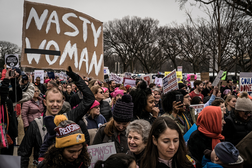 "Participants in the ""Women's March on Washington"" demonstrate following the U.S. Presidential Inauguration of Donald J. Trump, at the National Mall in Washington, D.C., Saturday Jan. 21, 2017. ( William B. Plowman / REDUX Photo )"