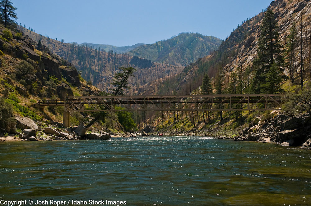 Idaho, Middle Fork of the Salmon River. A bridge over the river in summer.