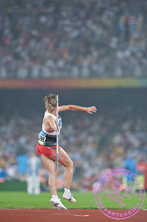 BARBARA MADEJCZYK (POLAND) COMPETES IN THE WOMEN'S JAVELIN THROW FINAL DURING THE BEIJING 2008 SUMMMER OLYMPIC GAMES IN BEIJING, CHINA.. .CHINA , BEIJING , AUGUST 21, 2008..( PHOTO BY ADAM NURKIEWICZ / MEDIASPORT )..PICTURE ALSO AVAIBLE IN RAW OR TIFF FORMAT ON SPECIAL REQUEST.