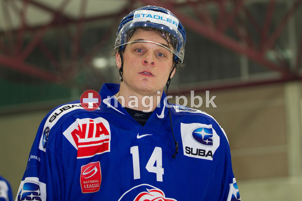 GCK Lions forward Chris Baltisberger is pictured during the ice hockey game of the Swiss National League B (Season 2011-2012) between GCK Lions and HC Thurgau held at the KEK in Kuesnacht, Switzerland, Sunday, Feb. 5, 2012. (Photo by Patrick B. Kraemer / MAGICPBK)