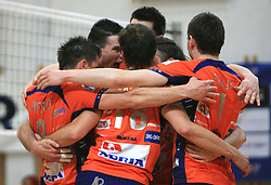 Players of ACH celebrate at last final volleyball match between OK ACH Volley and Salonit Anhovo, on April 21, 2009, in Arena SGS Radovljica, Slovenia. ACH Volley won the match 3:0 and became Slovenian Champion. (Photo by Vid Ponikvar / Sportida)