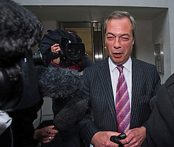 © Licensed to London News Pictures. 14/05/2015.  NIGEL FARAGE leaving UKIP party headquarters in Mayfair, London. Farage has been critiqued by members of the UKIP party after a u-turn on his decision to stand down as leader. Photo credit: Ben Cawthra/LNP