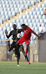 01042018 (Pietermaritzburg) Mame Niang and kamogelo Magaswa plays with a ball when Royal Eagles played a nil draw against the university of Pretoria yesterday At Harry Gwala stadium.<br /> Picture: Motshwari Mofokeng