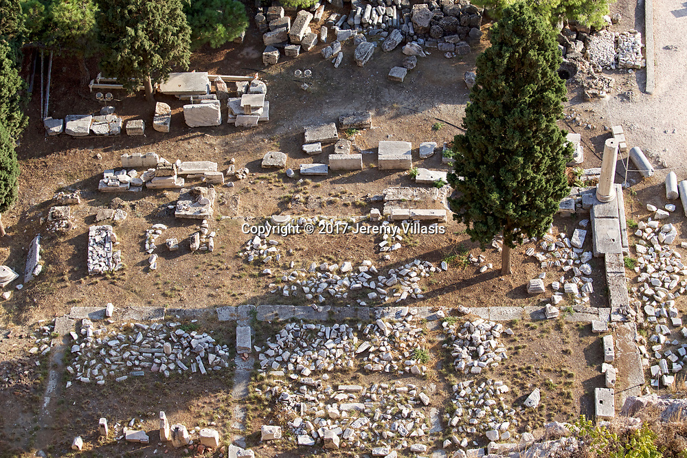 View of the remains of the stoa at the Temple of Asklepios on the foot of the Parthenon in the Athenian Acropolis.