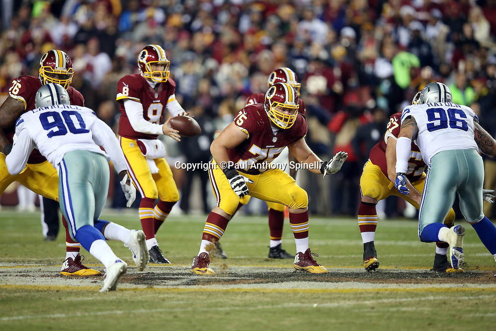 Washington Redskins offensive guard Brandon Scherff (75) pass blocks while Dallas Cowboys defensive end Demarcus Lawrence (90) and Dallas Cowboys defensive tackle Nick Hayden (96) rush during the 2015 week 13 regular season NFL football game against the Dallas Cowboys on Monday, Dec. 7, 2015 in Landover, Md. The Cowboys won the game 19-16. (©Paul Anthony Spinelli)