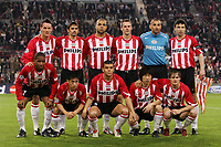 Fotball<br /> Lagbilde<br /> Foto: imago/Digitalsport<br /> NORWAY ONLY<br /> <br /> 13.04.2005<br /> <br /> Mannschaftsfoto PSV Eindhoven, hi. v.li.: Jan Vennegoor of Hesselink, Phillip Cocu, Alex, Andre Ooijer, Torwart Heurelho Gomes, Mark van Bommel; vorn: Jefferson Farfan, Young Pyo Lee, Wilfred Bouma, Ji Sung Park und Johann Vogel