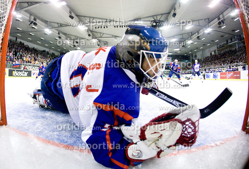 SUNG JE PARK goalkeeper of Korea at Round 4 of IIHF Ice-hockey World Championships Division I Group B match between National teams of Slovenia and South Korea, on April 21, 2010, in Tivoli hall, Ljubljana, Slovenia.  (Photo by Vid Ponikvar / Sportida)