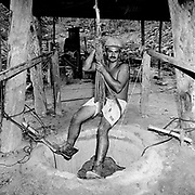 Jul 1, 1999 - Brazil - A Brazilian gold miner preparing to descend into an underground mines shaft in Minas Gerais, Brazil.<br /> (Credit Image: &copy; Louie Palu/louie Palu/ZUMA Press)