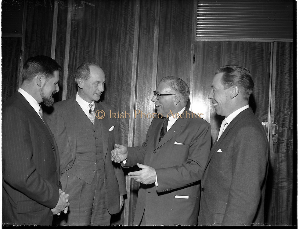 19/01/1960.01/19/1960.19 January 1960.American businessmen visit Minister Jack Lynch..W.H. Walsh, General Manager C.T.T. and Minister for Industry and Commerce Jack Lynch chatting with Cyril Magnin, President of Joseph Magnin Inc., San Fransisco, one of California's leading businessmen,  and Joseph Weiner, President of Weiner and Gossage Inc., San Fransisco at the Department of Industry and Commerce.