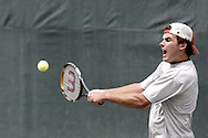 Ross Wilson, from Toledo competes in the second set of the finals in the 41st Weston Memorial Tennis Tournament at the Virginia Hollinger Memorial Tennis Club, Monday, May 26, 2008.