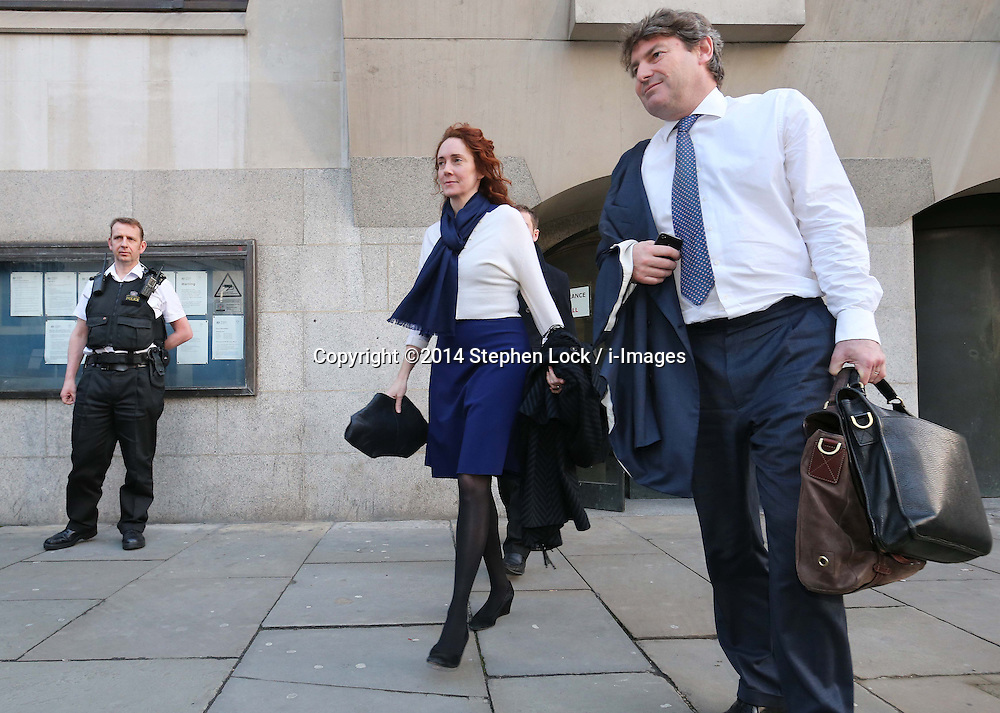 Rebekah and Charlie Brooks leaving the Phone Hacking trial at the Old Bailey in London,, Thursday, 20th February 2014. Picture by Stephen Lock / i-Images