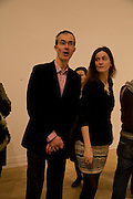 GEOFF DYER AND REBECCA WILSON, Private viewfor the opening of the Peter Doig exhibition. Tate Britain. Millbank. London. 5 February 2008.  *** Local Caption *** -DO NOT ARCHIVE-© Copyright Photograph by Dafydd Jones. 248 Clapham Rd. London SW9 0PZ. Tel 0207 820 0771. www.dafjones.com.