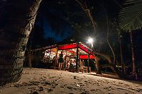 Little Corn Beach & Bungalow's restaurant and Bar, The Turned Turtle, on east coast of Little Corn Island, Nicaragua. Copyright 2017 Reid McNally.