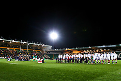 England U20 and Scotland U20 line up for the national anthem - Mandatory by-line: Robbie Stephenson/JMP - 15/03/2019 - RUGBY - Franklin's Gardens - Northampton, England - England U20 v Scotland U20 - Six Nations U20
