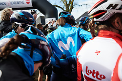 Movistar Women's Team in the mayhem before the start at Ronde van Drenthe 2019, a 165.7 km road race from Zuidwolde to Hoogeveen, Netherlands on March 17, 2019. Photo by Sean Robinson/velofocus.com