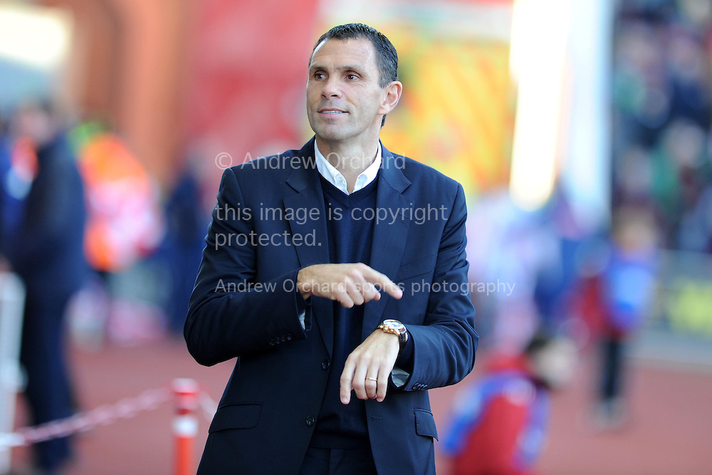 Sunderland manager Gus Poyet looks on.  Barclays Premier league, Stoke city v Sunderland at the Britannia stadium in Stoke on Trent, England on Saturday 23rd Nov 2013. pic by Andrew Orchard, Andrew Orchard sports photography,