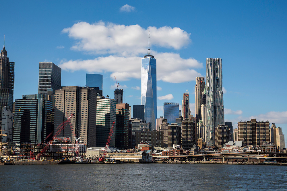 Lower Manhattan, also know as Downtown Manhattan is the financial district and centre for business, culture and government in the city of New York, United States of America. Photographed across the East River from Brooklyn.  (photo by Andrew Aitchison / In pictures via Getty Images)