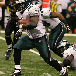 13 January 2007: Philadelphia Eagles running back Brian Westbrook runs with the ball during a 27-24 win by the New Orleans Saints over the Philadelphia Eagles in the NFC Divisional round playoff game at the Louisiana Superdome in New Orleans, LA. The win advanced the New Orleans Saints to the NFC Championship game for the first time in the franchise's history.