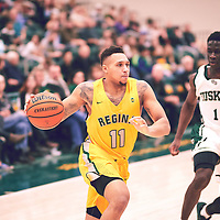 4th year guard, Myles Hamilton (11) of the Regina Cougars during the Men's Basketball Home Game on Fri Feb 01 at Centre for Kinesiology,Health and Sport. Credit: Arthur Ward/Arthur Images